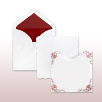 Scalloped Border With Red Printed Antique Floral Decorative Translucent Jacket - 50 Pack Kit (Invitations, Inner Envelopes, Outer Envelopes)