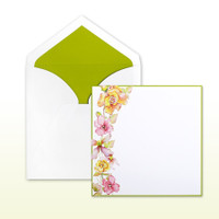 Pink, Kiwi, Yellow Printed Floral Spray With Kiwi Border - 50 Pack Kit (Invitations, Inner Envelopes, Outer Envelopes)