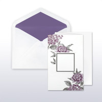 Mulberry And Black Printed Floral With Area For Names Or Monogram Fan Fold - 50 Pack Kit (Invitations, Inner Envelopes, Outer Envelopes)