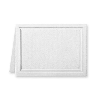 """50 Pack Reich Savoy Brilliant White 118 Lb. Cover Triple Panel Border Folded Enclosure Cards 2 15/32"""" X 3 7/16"""" Closed"""