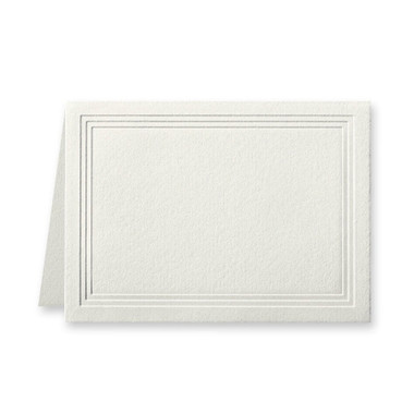 """50 Pack Reich Savoy Natural White 118 Lb. Cover Triple Panel Border Folded Enclosure Cards 2 15/32"""" X 3 7/16"""" Closed"""