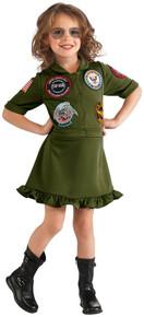 Top Gun Flight Dress Airforce Girl's Costume