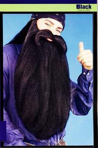 "Beard Extra Long 18"" & Mustache - Black"