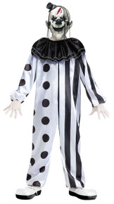 Killer Clown Black & White Kids Costume with Mask