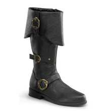 Men's Carribean Distressed Pirate Boots w/ Octopus Buckles & Inner Side Zip
