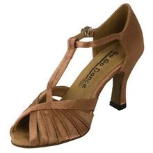 "Tan T Strap Satin Ballroom Shoe 2.5"" Heel (GO9571)"