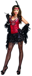 20's What's Shakin' Red & Black Flapper Dress