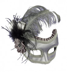 Silver Satin Mask Mardi Gras with Feather