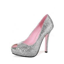 Ella Peep Toe Glitter Pump Shoes - Silver