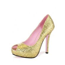 Ella Peep Toe Glitter Pump Shoes - Gold