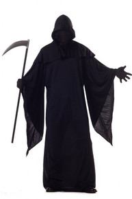Horror Robe Boy's Costume with Black Out Face Hood