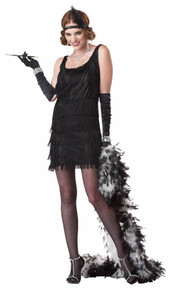 20's Fashion Flapper Black or Red Ladies Fringed Dress