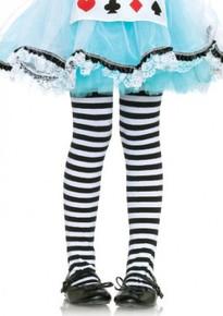 Children's Striped Tights - Black & White