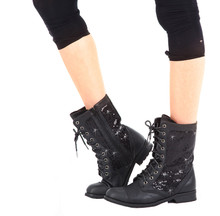 Adult Sequin Combat Dance Boots w/ Non-Marking Soles (GS3A)