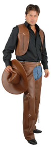 Western Men's Pleather Brown Chaps and Vest