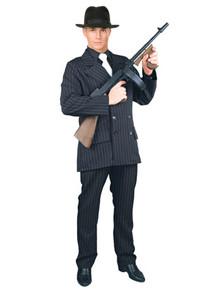 Black & White Pinstripe Plus Size Gangster Suit