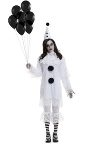 Heartbroken Clown Creepy Black & White Adult Lace Costume Set