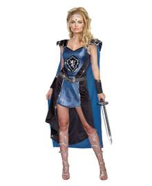 The King Slayer Blue Renaissance Velvet Dress w/ Gauntlets & Headpiece
