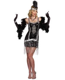 20's Simply Fab! Black & Silver Flapper Dress w/ Headpiece