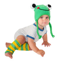 Infant Frog Leg Warmers & Crochet Hat Set
