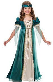 Emerald Juliet Girl's Dress with Headpiece