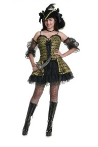 Black Pearl Beauty Black & Gold Pirate Mini Dress