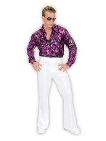 70's Purple Flame Hologram Men's Disco Shirt