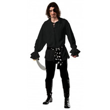 Pirate Shirt Cotton Black with Waist Sash