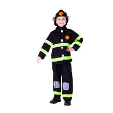 Deluxe Fire Fighter Costume Kids Black & Yellow
