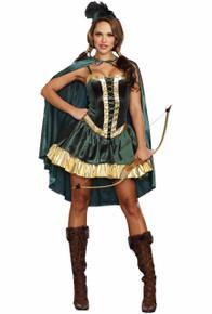 Robinhood Green Velvet Dress w/ Cape & Hat