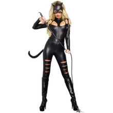 Cat Fight Black Body Suit w/ Attached Tail, Ears & Belt