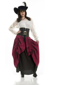 Capitano Ladies Pirate Dress w/ Skirt & Belt Black w/ Wine