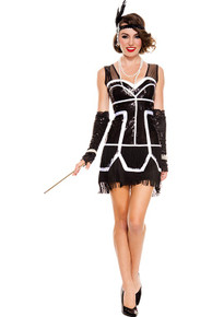 20's Flapper Fever 2PC. Black and White Sparkly Sequin Fringed Flapper