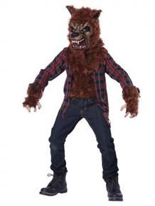 Blood Moon Kid's Brown Werewolf Fur Shirt & Mask