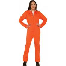 Prisoner Jumpsuit Orange Ladies Costume 14/16 Adults