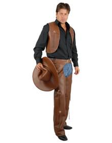 Western Chaps & Vest Men's Brown Pleather Plus Size