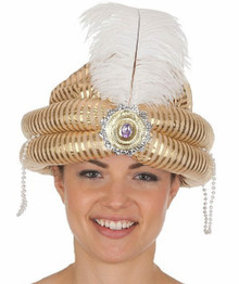 Deluxe Gold Sultan Hat Turban w/ Feather