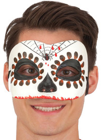 Men's Day of the Dead Mask w/ Spider & Red Accents (26702WHAJ)