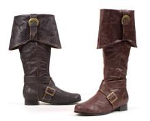 "Pirate Jack Men's Buckled Boots 1"" Heel Brown or Black"
