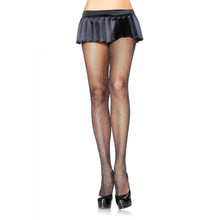 Black & Silver Glitter Fishnet Tights (9012ABLK)