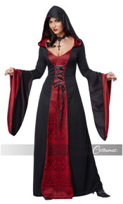 Gothic Robe With Attached Hood And Lace Up Ties