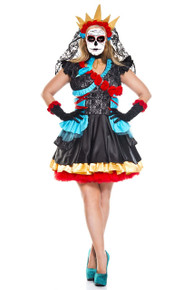 Day of the Dead Darling Full Figure Dress w/ Veil Choker & Gloves (70755Q)