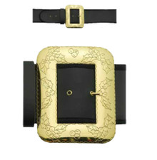 Professional Santa Belt XL with Decorative Cast Buckle Black Naugahyde