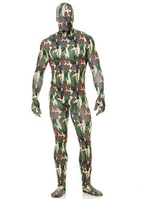 Camo Bodysuit - Large Men's Zip-Up Hooded 2nd Skin