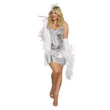 20's Life's a Party Ladies Silver Flapper Dress
