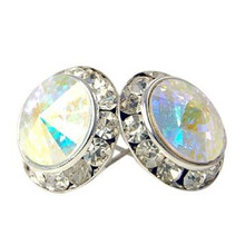 13MM Aurora Swarovski Crystal Earrings w/ Surgical Steel Post