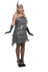 20's Flappers Slant Fringe Flapper Silver Dress