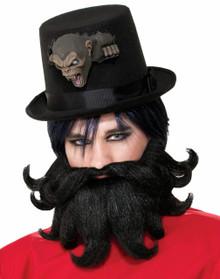Scoundrel Victorian Steampunk Side Show Style Black Moustache & Beard