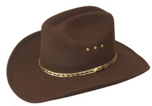 Cowboy Hat Faux Felt with Elastic Sizing Band