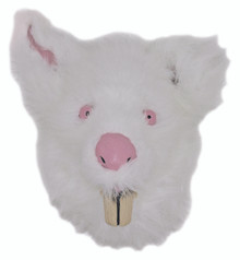 Evil Rabid Rabbit Mask with White Fur and Big Teeth Slit in Back